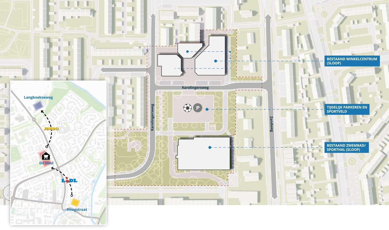 Plattegrond wijkwinkelcentrum De Heul verplaatsing Lidl